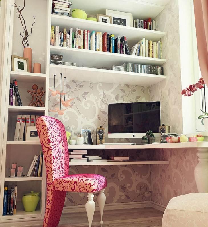 el espacio estudio libreros silla flores