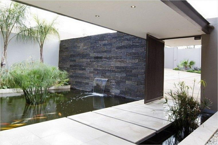 Cascadas y fuentes de jard n modernas 42 ideas estupendas for Como hacer un estanque para peces koi