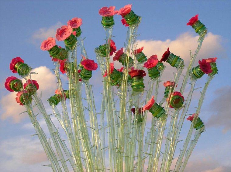 estupendas flores plastico reciclado