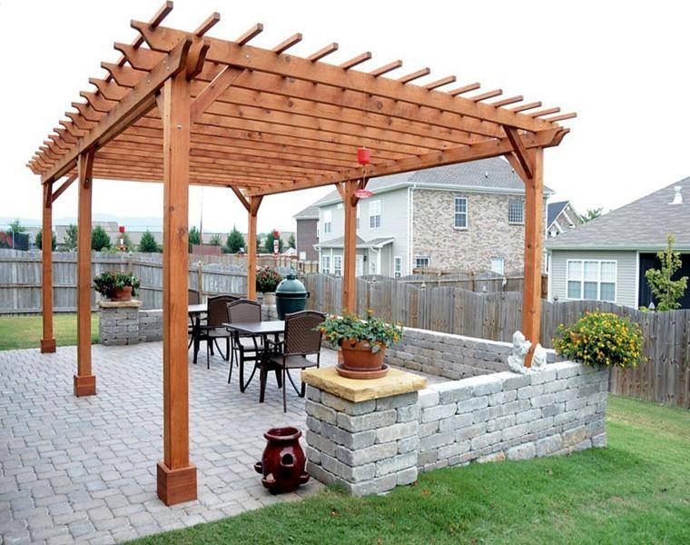 P rgolas madera dise os originales con tejados estilo for Materiales para cubrir pergolas