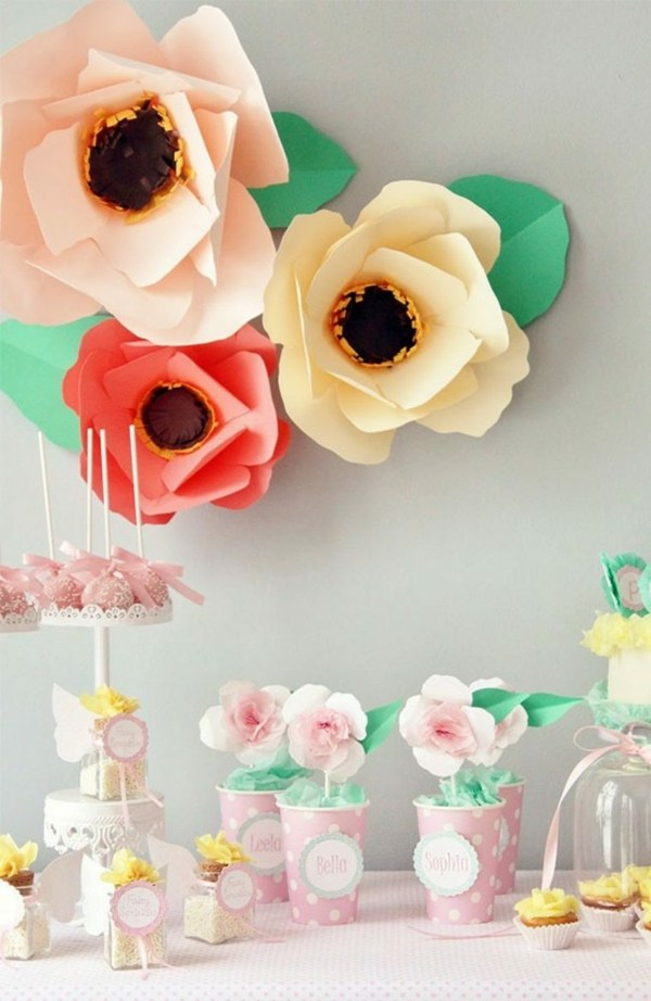 fiestas infantiles decoracion flores papel ideas