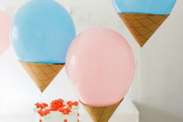 fiestas infantiles decoracion globos helados ideas