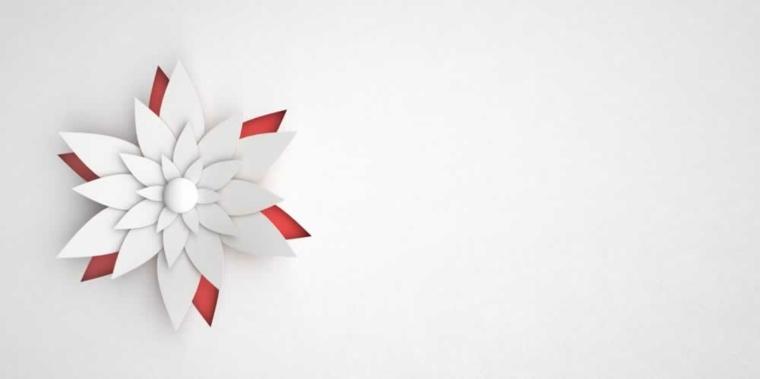 flor papel color blanco rojo