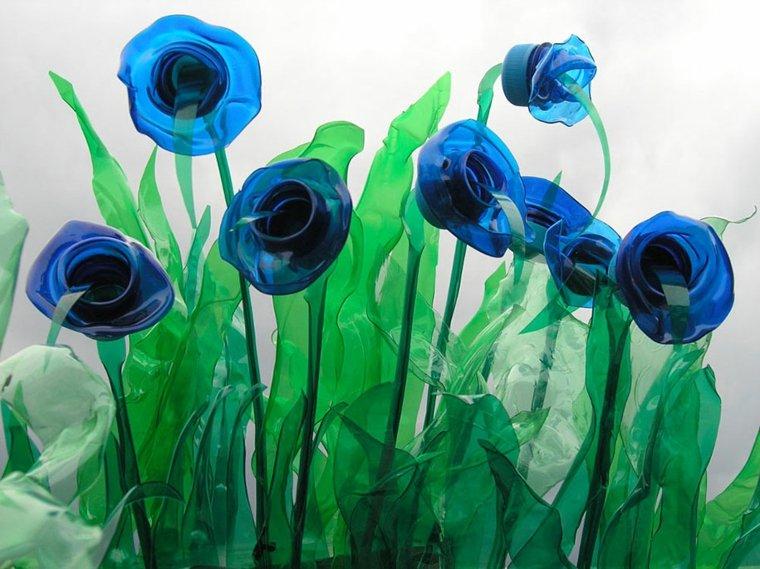 flores recicladas decorativas plastico botellas