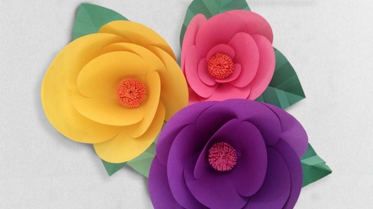 como hacer flores de papel cartulina colores