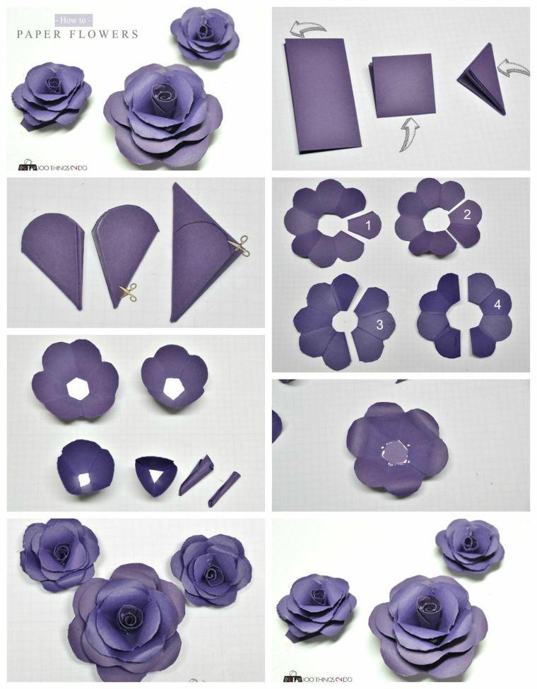 flores papel cartulina roas morada