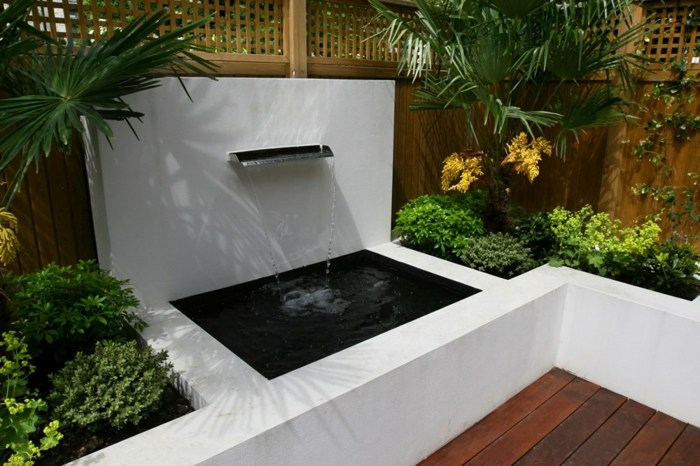 fuente agua estanques patios cascada