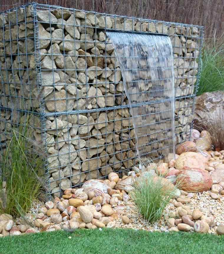 fuente cascada gavion rocas