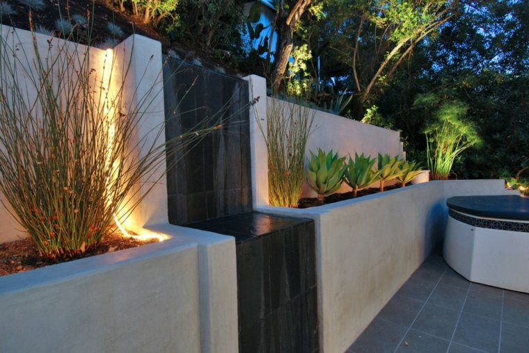 fuente jardin diseño moderno pared