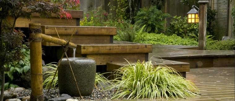 fuente jardin estilo zen bambú