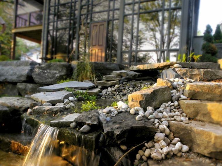 fuente rocalla cascadas jardín