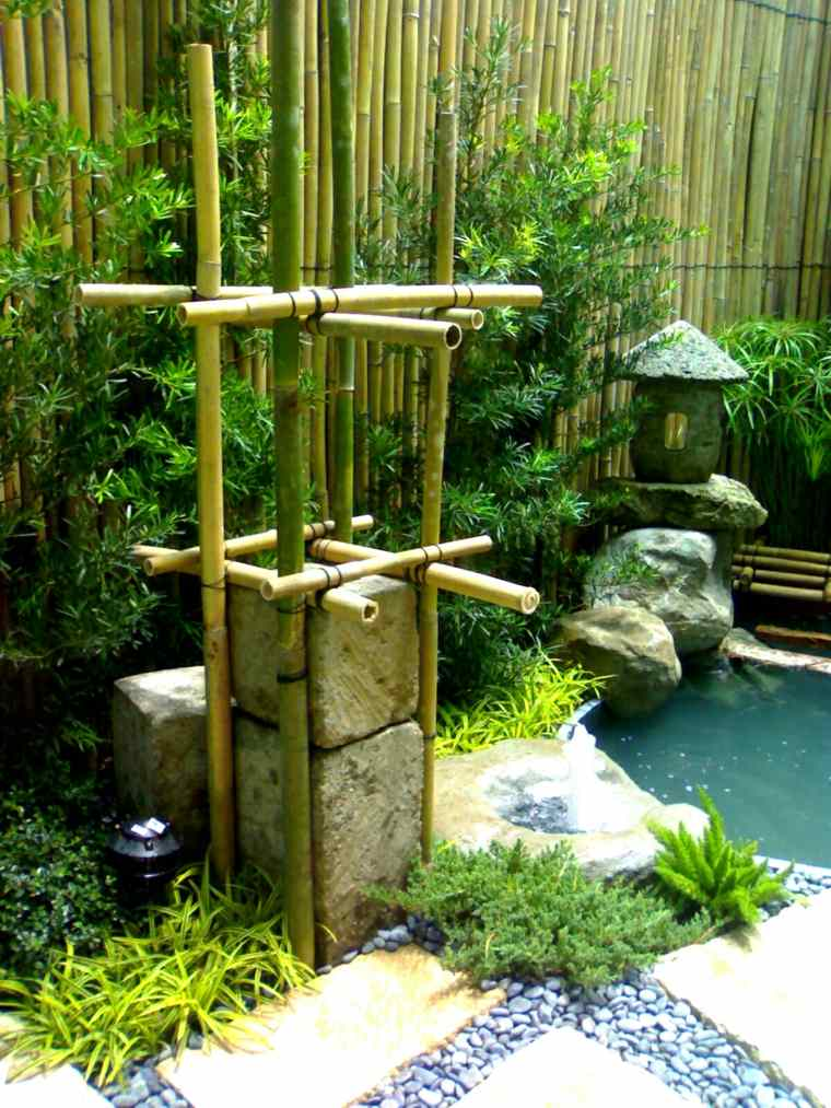 fuente estilo zen cañas bambú