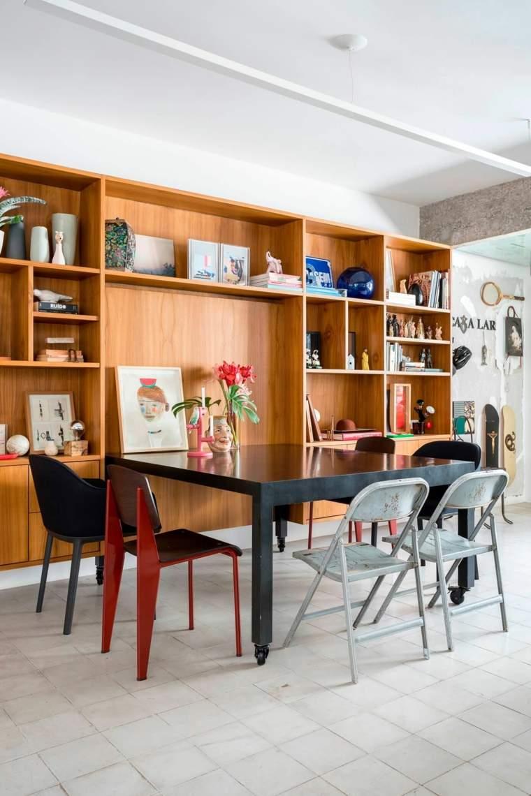 gabinete madera mesa comedor