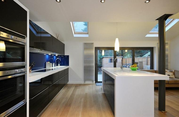 gabinetes cocina negros acabado lacados