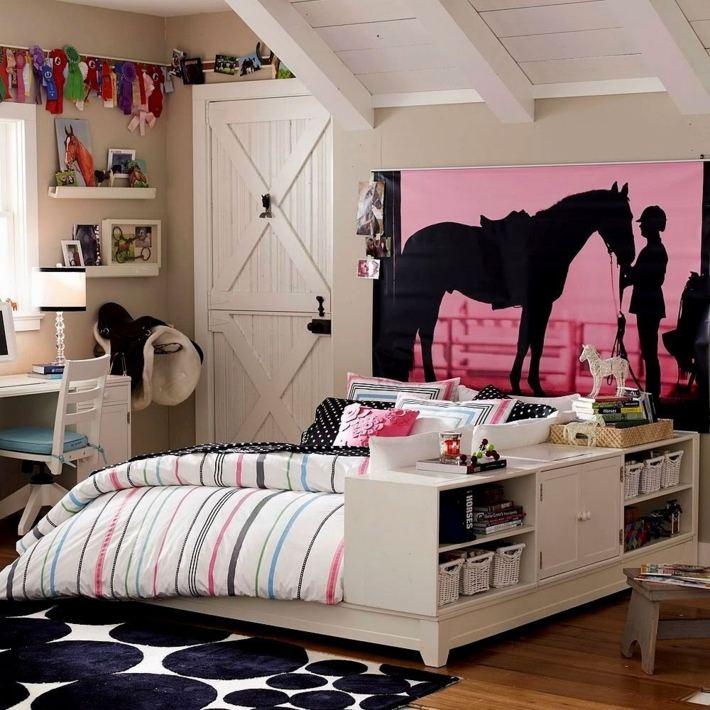 habitacion niña adolescente estampa pared ideas