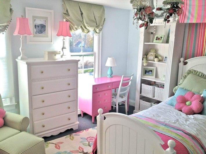 habitacion nia escritorio madera rosa ideas