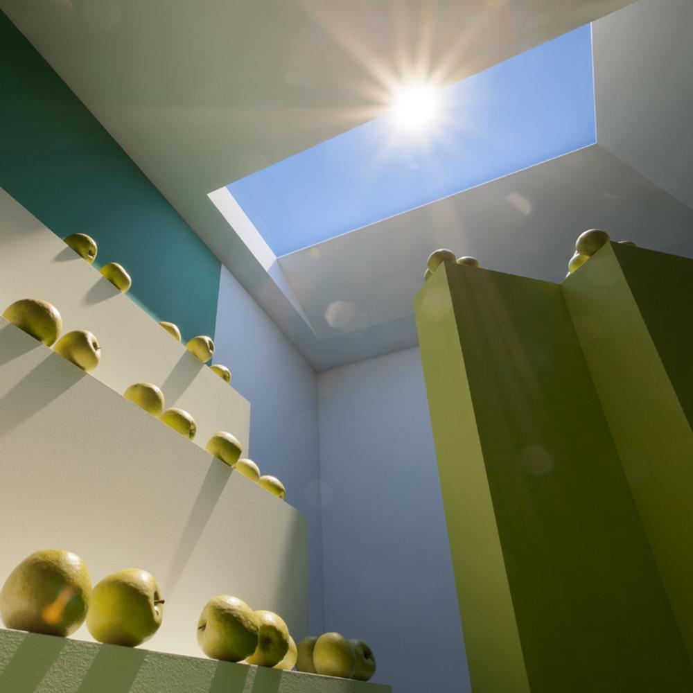 habitacion tragaluz manzanas verdes