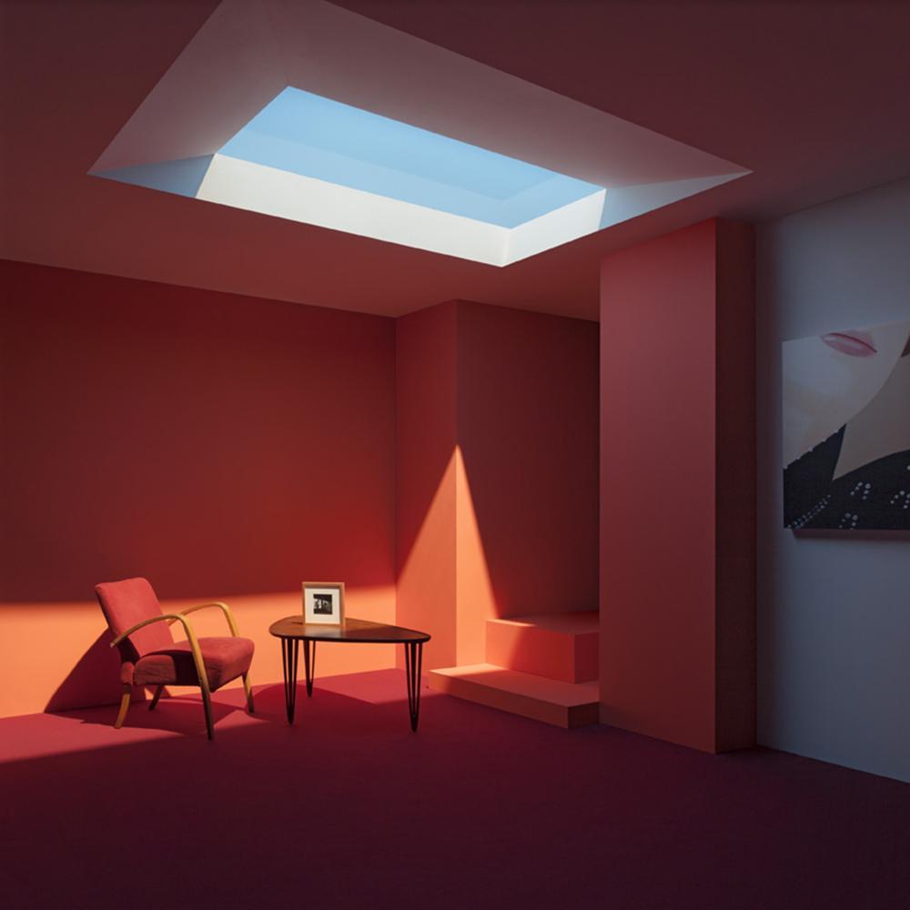habitacion tragaluces color rojo