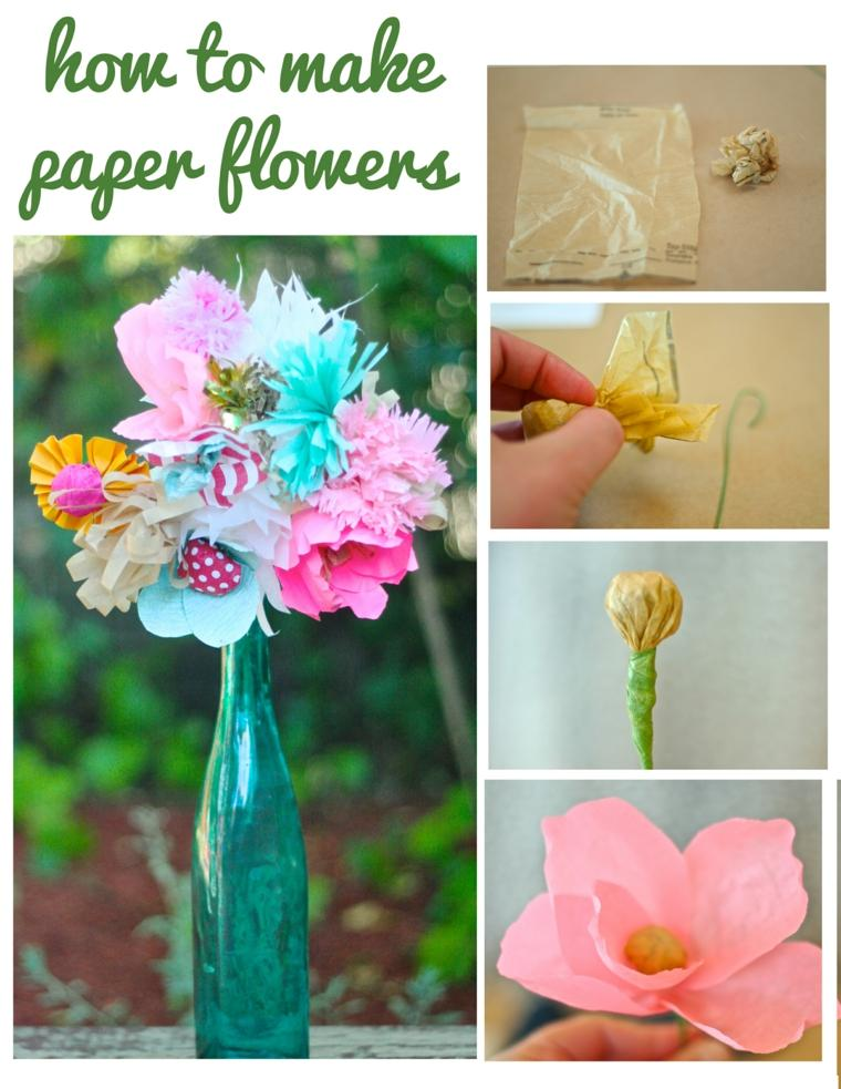ideas como hacer flores de papel