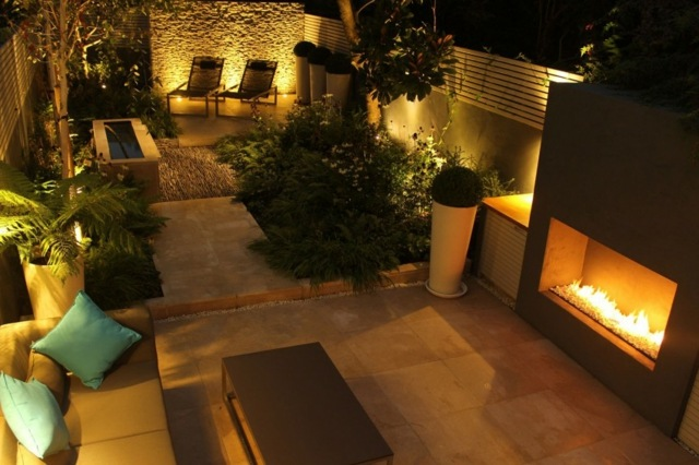 iluminacion exterior moderna chimeneas fuego ideas