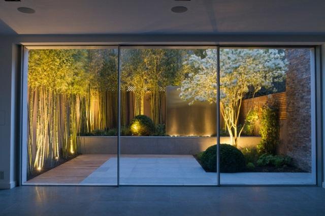 iluminacion exterior moderna ideas jardines pequenos bambu