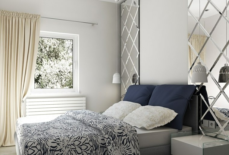 imagenes impresionantes dormitorio estrecho blanco espejos decorativos