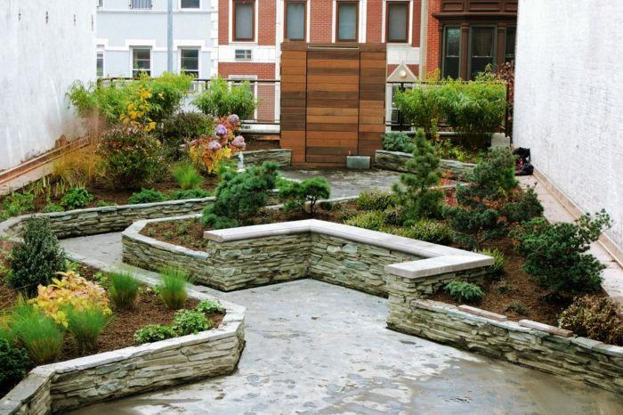 imagenes jardin original muralla piedra ideas