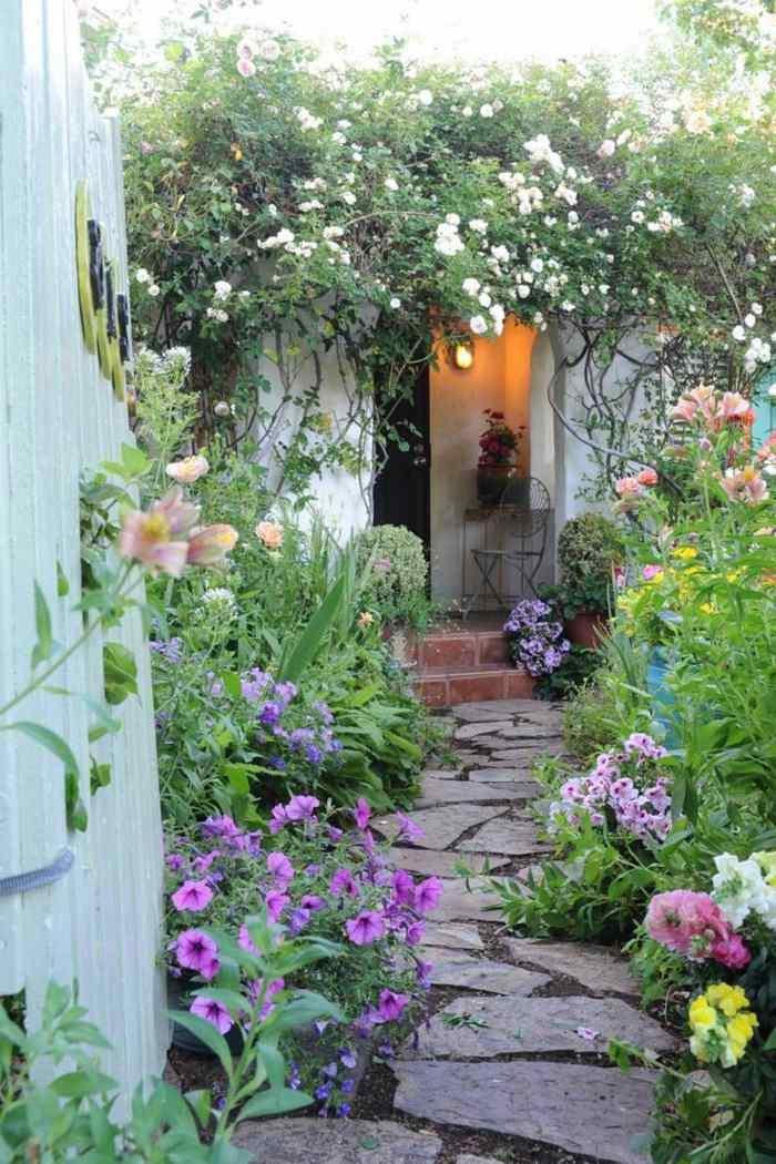 imagenes paisaje jardin flores camino casa ideas