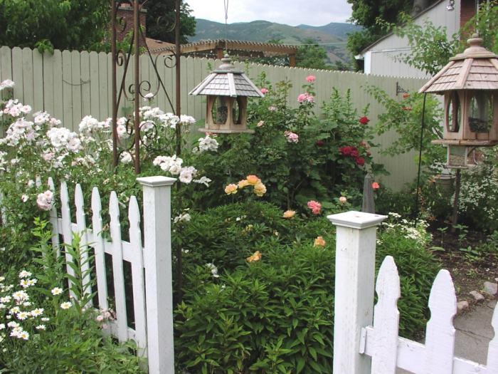 imagenes paisaje jardin valla madera blanca ideas