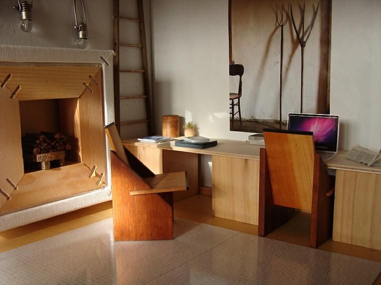interior despacho muebles madera