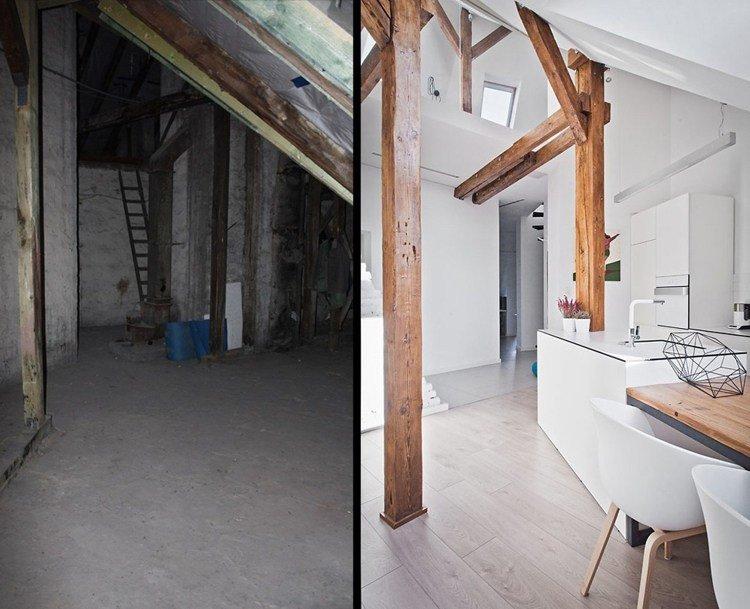 interiores de casas columnas escaleras maderas