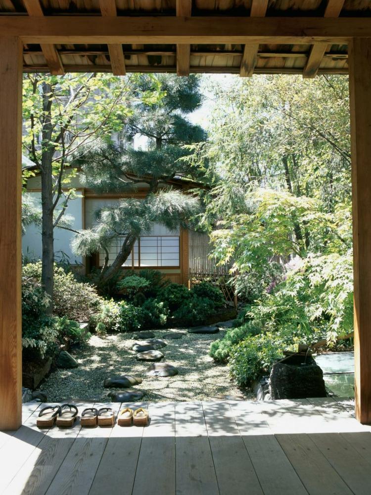 interiores patios madera suelos rocas