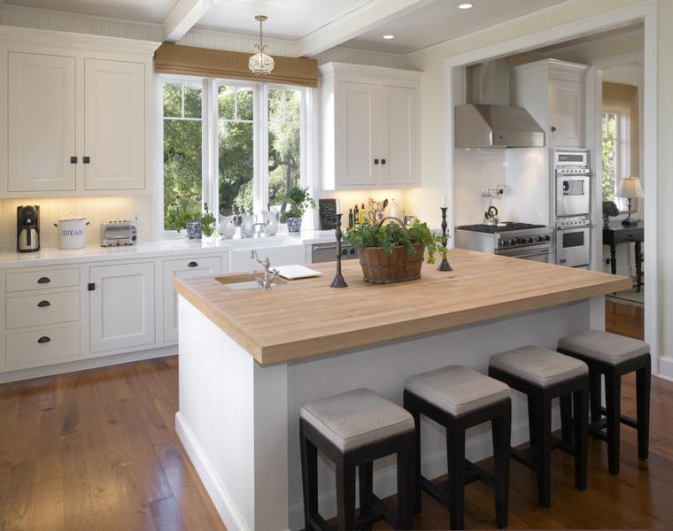 Cocina blanca encimera madera veinticuatro dise os for Medidas isla cocina