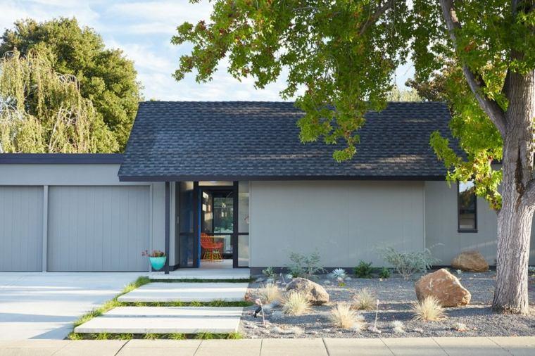 jardin delantero moderno entrada casa ideas