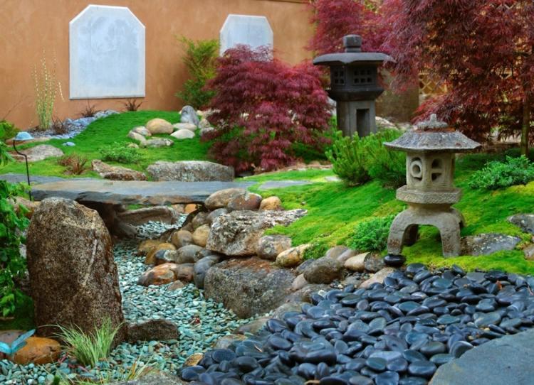 jardin japones jardineria lamparas efectos listones