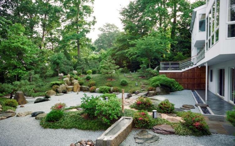 jardin japones jardineria rocas puentes troncos