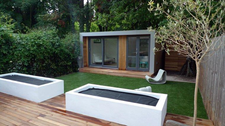 Parcelas rectangulares y jardines de chalets adosados 24 for Jardin moderno pequeno