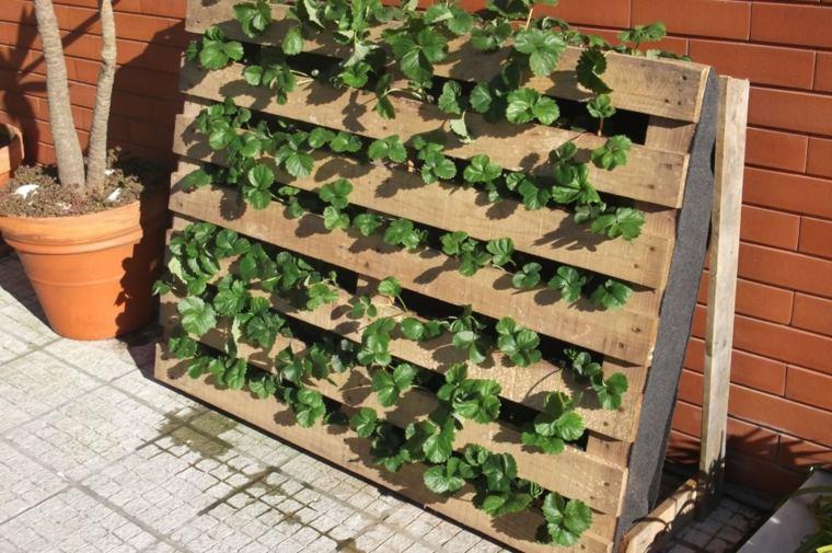 jardin vertical con palets recuperados macetas