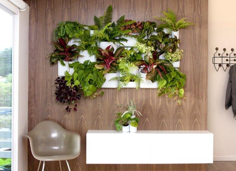 jardin vertical interior paredes madera salones