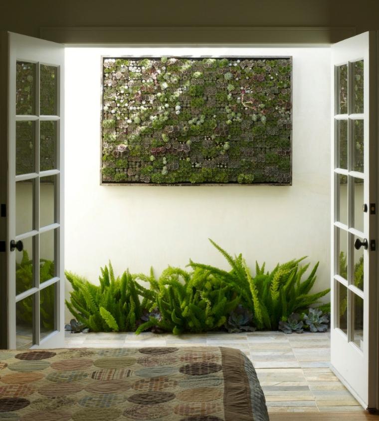 jardin vertical interior suculentas ventanas minimalistas