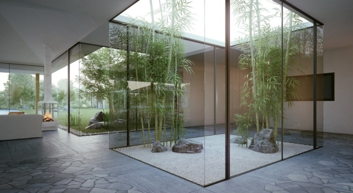 jardin zen interior cristales chimeneas barreras