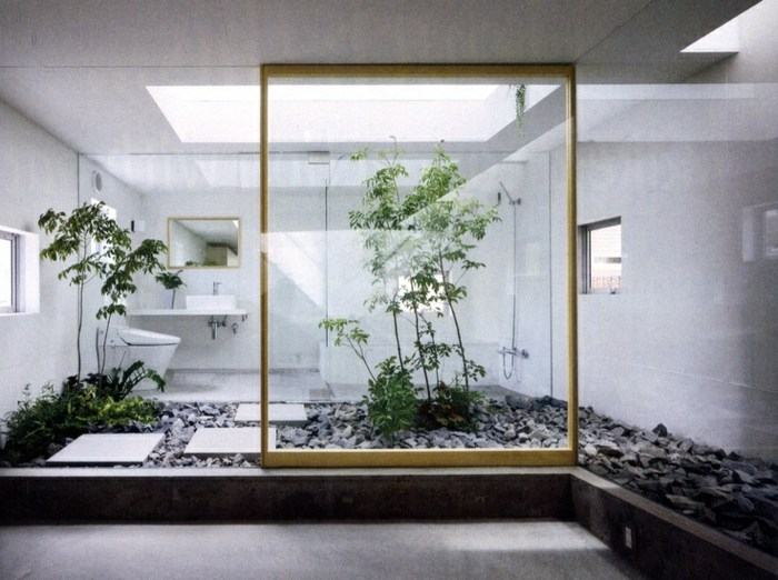 jardin zen interior led baños color madera
