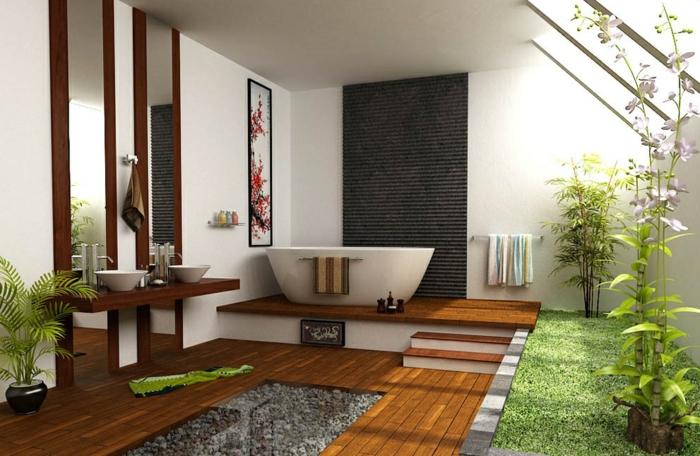 jardin zen interior madera claros efectos rocas