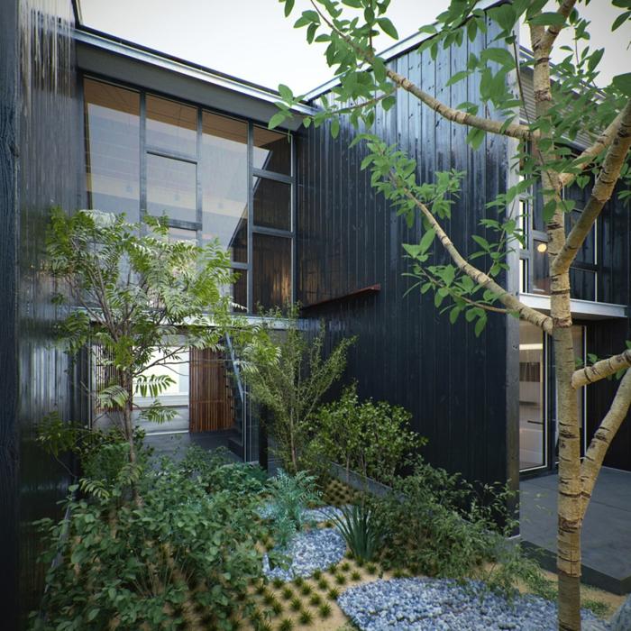 jardin zen interior senderos arboles troncos calles