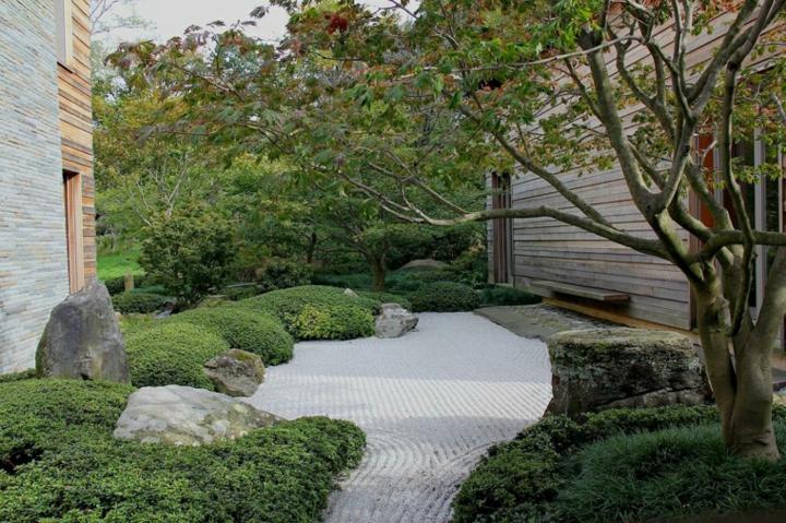 jardin zen meditacion espacios arboles rocas