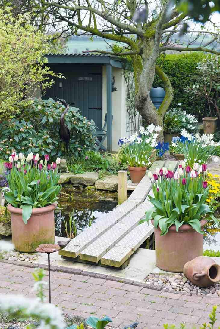 jardines almacenamiento puentes estables flores
