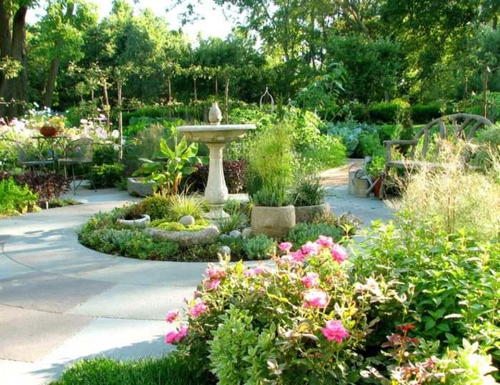 jardines borde espacio acogedor fuentes tierra