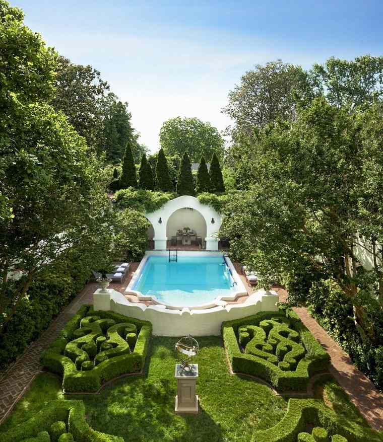 jardines clasicos piscinas diseno original jardin ideas