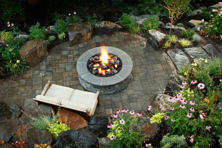 jardines detalles pozos fuego rocas muebles sillones