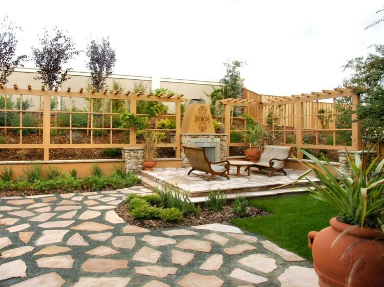 jardines detalles rocas muebles plantas